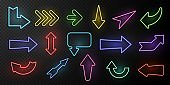 Neon arrows. Lighting with bright design signs, glowing vintage arrow lights isolated vector dark set