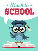 Back to school owl. Wise owl in graduate cap with books, learning education kids colored school card, cartoon vector poster