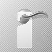 Hotel door handle. White blank plastic hanger hangs on door, empty tag no disturb, knob with hanger mockup, hotel service vector template