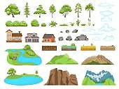 Landscape elements constructor. Natural compatible objects, mountains or clouds, soil types and stones. Plants of temperate and tropical climates, shack or modern houses, vector set