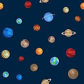 Solar system seamless pattern. Different colorful planets on space background, astronomy objects, galaxies, stars collection. Creative design textile, wrapping, wallpaper vector texture