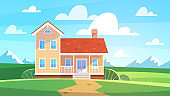 House in summer landscape. Cottage in countryside trees, meadows and green hills. Front view building with terrace, lifestyle on nature seasonal poster real estate flat vector background