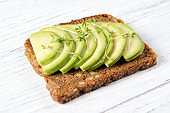Whole wheat toast bread with sliced avocado with garden cress sprouts, healthy eating or vegan concept, close up