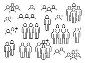 People group icons. Big crowd sign, corporate business employees, persons symbols for population infographics, user signs vector set