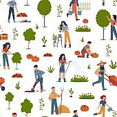 People gardening. Seamless pattern with farmers collecting seasonal ripe fruits and vegetables, harvesting using garden tools, vector