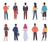 People back view. Men, women in casual clothes standing together in various poses set, male and female persons from back side with phones and bags collection. Flat vector characters