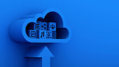 Media and information icon upload to blue cloud computing server