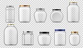 Glass jars. Empty clear containers different sizes with metal and plastic, with screw caps for food canning and storage, realistic vector on transparent background template