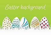 Easter paper cut. Colorful easter eggs with papercut pattern, greeting card template, celebration event flyer. Vector background