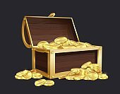 Chest of gold coin. Closed and open vintage wooden trunk full of golden coins, medieval mystery pirate treasures illustration for game cartoon vector set