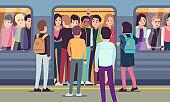 People go into subway train. Public urban transportation, metro platform, passengers trying to enter underground wagon vector concept