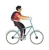 Man riding bicycle. Simple character cyclist guy rides on bike. Outdoor activities in park, healthy lifestyle. Flat vector cartoon isolated illustration