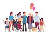 Volunteer group. Volunteering and supporting people, community helping and taking care about handicapped, vector charity concept