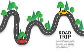 Road with pins. Winding road with pin pointer, trip and journey route, mobile navigation geotag planned way, craft design vector concept
