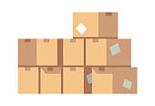 Pile of cardboard boxes. Stacked sealed various packing of goods vector concept