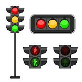 Traffic light. Led lights red, yellow and green colors signals street regulation, road safety, control accidents, web banner vector set isolated on background