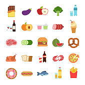 Flat food. Hamburger and bread, pizza and fruits, drinks. Vegetables, alcohol and meat, vine and water, seafood, takeaway vector icons