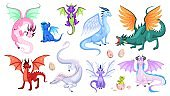 Fairy dragons. Fantasy colorful creatures, medieval magic fairy tails animals, fire-breathing mythical reptiles, flying dinosaurs. Childish collection for design cartoon vector set
