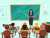 Students in classroom. Teacher near blackboard in auditorium teaches maths lesson, children study subject kids group studying in elementary school class interior cartoon vector concept