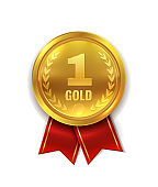 First place. Golden award medal or orden symbol with red ribbon for champion and winner isolated vector illustration