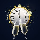 Happy new year with champagne glasses. Clinking sparkling crystal wine in realistic 3d wineglasses with midnight retro clock and bokeh effect, party invitation vector card or poster
