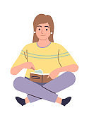 Woman in library reading book. Female reader literature sitting on floor with book, smart student girl study knowledge with textbook, self education concept vector cartoon illustration
