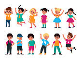 Emotional kids. Cute boys and girls afraid and happy, cry and sad, surprised and resentful, jump and angry, faces with expressions vector flat cartoon children characters collection