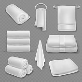 White towel. Beautiful fresh hotel bathroom stacked towels, roll and hanging, soft cotton textile hygiene items, realistic vector mockups