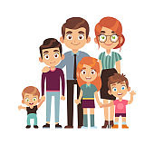 Happy big family together. Father and mother with teenager children and babies, vector flat vector characters
