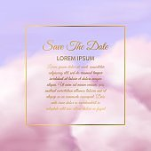 Pink clouds. Sugar cotton pink cloud delicate texture, glamour sky background with golden square frame and text copy space elegant wedding invitation template vector fantasy wallpaper design