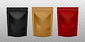 Plastic sachet pouch. Coffee zip package golden, black and red color, foil standing bag advertising presentation realistic vector mockups