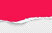 Red torn paper. Realistic ripped blank horizontal background with soft shadow, 3D transparent template for banners, deformed pink cardboard, vector texture illustration with copy space