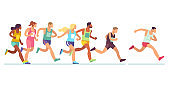 Running people. Men and women in sports clothes on marathon race, athletics event, sports group jogging, web banner design vector concept