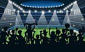 Sport fans at stadium. People black silhouettes on stadium background, soccer football match on spotlight, team supporters stand with flag and posters cartoon vector championship concept
