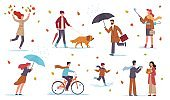 People in autumn. Men, women and kids walk in fall season with umbrellas in rain among yellow leaves and puddles, riding bicycle, walking with dog, vector flat isolated set