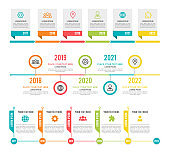 Timeline. Workflow or process diagram option and step infographic network marketing project planning business presentation, strategy organization and progress vector colorful templates