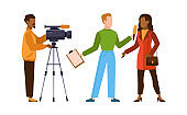 Press interview with cameraman. Journalist interviews woman. Newscaster and journalist profession. Operator holds camera and reporter with microphone, television industry flat vector concept