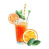 Orange cocktail in glass. Decorated with a mint, slice, tube. Isolated on white background. Hand drawn watercolor illustration for design cooking site, menu, books, pub, poster, label.