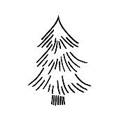 Hand drawn  doodle fir tree isolated on white background.