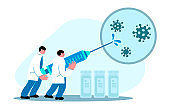 Scientist with syringe and vials create vaccine for coronavirus. Vector flat cartoon illustration concept  of virus vaccination, cure for disease.