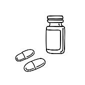 Hand drawn doodle medicine pills, tablet, capsule and package bottle isolated on white background.