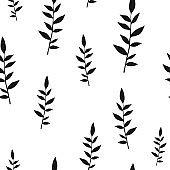 Black on white hand drawn leaves