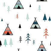 Scandinavian colorful geometric seamless pattern