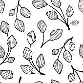 Leaves and branches seamless pattern. Black and white texture