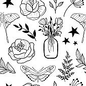 Seamless pattern with hand drawn monochrome flowers