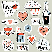 Funny set of love cartoon stickers