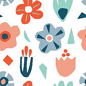 Seamless pattern with abstract cutout flowers and leaves