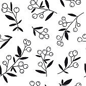 Berry branch seamless pattern. Black and white texture
