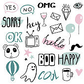 Set of funny stickers in cartoon style