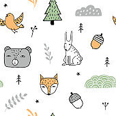 Forest colorful seamless pattern